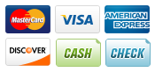 We accept MasterCard, Visa, American Express, and Discover, Marietta Locksmith