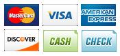 We accept MasterCard, Visa, American Express, and Discover, Marietta Locksmith
